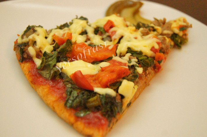 kiymali ispanakli pizza