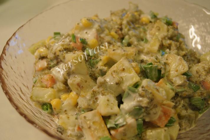 kizarmis patatesli brokoli salatasi